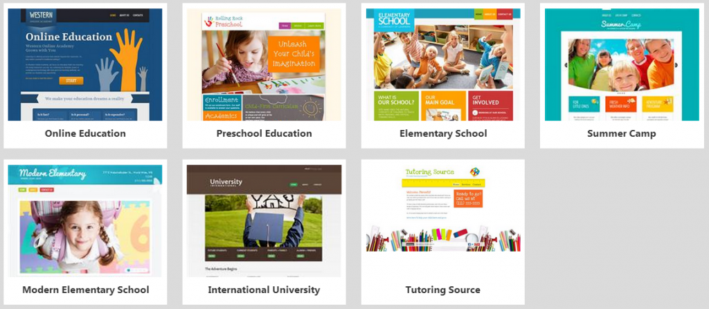 website builder education templates