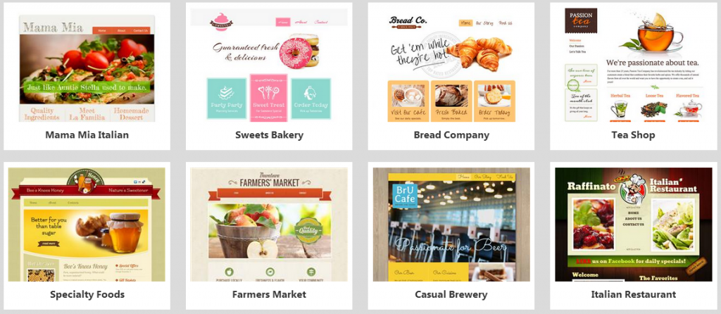 website builder food templates