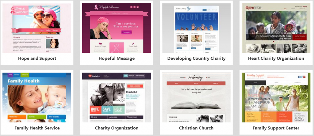 website builder non profits templates
