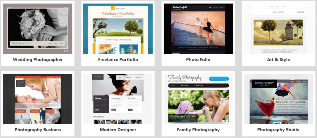 website builder photography templates