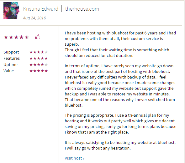 bluehost customer review