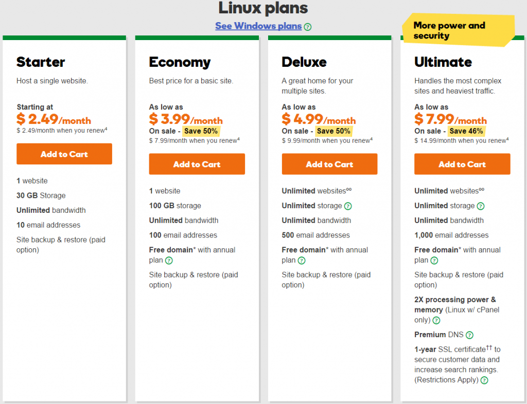 Godaddy Linux Web Hosting Plans