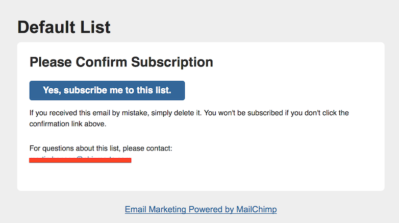 mailchimp confirmation mail