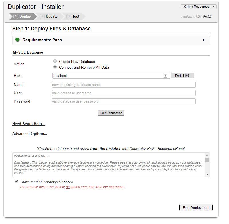 duplicator installer screen