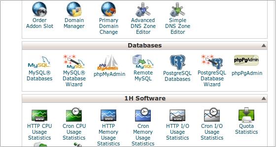 Cpanel MYSQL Database Wizard