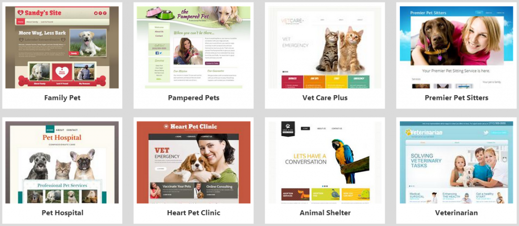 website builder pets templates