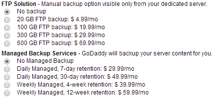 dedicated server backup plans
