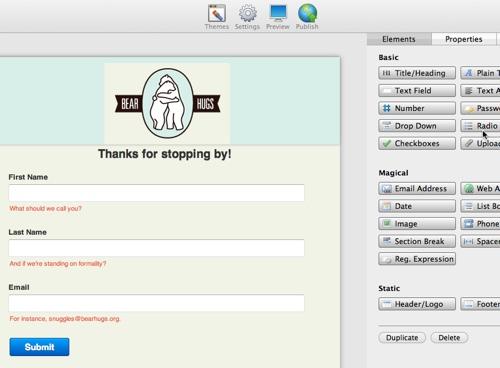 mailchimp web forms