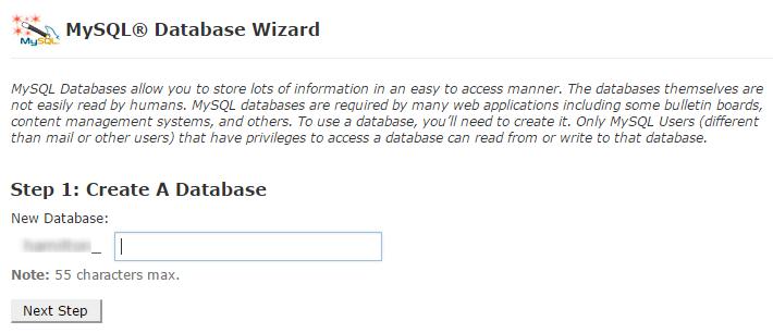 create database using wizard